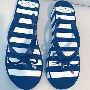 Kate Spade Black and White striped sandals